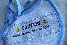 CAUTION Baby Bib Splash Danger Zone Funny by SnarkyLittleStitcher, $9.00