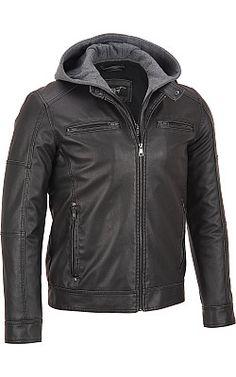 Black Rivet Faux-Leather Cycle Jacket w/ Hood - #WilsonsLeather