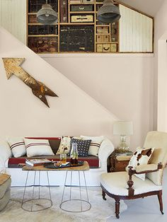 Lamp shade frames + reclaimed butcher block = coffee table // Peek Inside a Renovated Salvage Chic Texas Cottage // Country Living