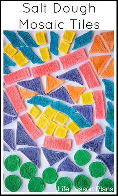 Salt Dough Mosaic Tiles.  Make salt dough in rainbow colors and then cut it into shapes.  After School Feature.