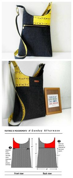 If you want to make a simple and quick-to-make bag then why not download this pattern and make this very casual hipster / cross-body / shoulder bag. There are 2 sizes included in the pdf downloadable pattern with the bigger one being 1 ½ inches taller than the smaller one. The bag is very much aimed at the casual you. It's relatively lightweight and is ideal for shopping, cycling or strolling in town. However, it does have lots of ample room for your phones, clutch, keys and even a small…