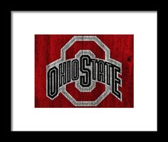 Ohio State University On Worn Wood Framed Print By Dan Sproul