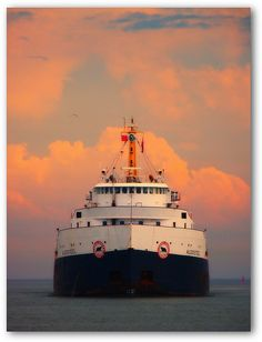 The new arrival by GlossyEye. Great Lakes Ships, Abandoned Ships, Merchant Navy, Nautical Art, Seascape Paintings, Ship Art, My Images, Sailing Ships, Fresh Water