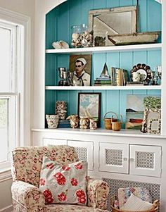 Beach House Style Decorating - love the open & decorative panels on the doors