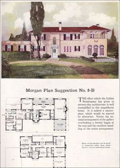 Vintage House Plan, #MediterranianArchitecture, Beautiful Home,1923 Morgan Sash & Door - 8B