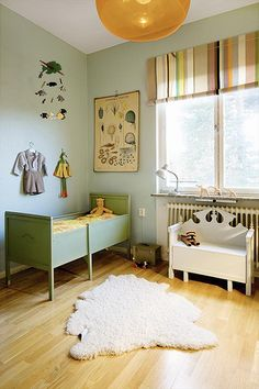 Antique Bed + Child's Room in green.