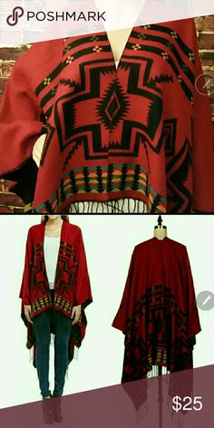 Restocked! Aztec Jacquered Poncho Aztec Jacquered Poncho. 100% Acrylic. **Free Shipping: Submit offer for $7 less and I will accept.** Jackets & Coats Capes