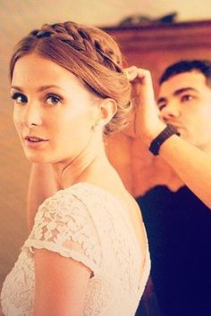 How beautiful was Millie Mackintosh's braided wedding up-do. #BridalBeauty #Hairtrends