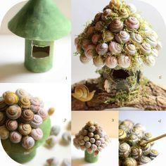 Dagliga Färger: Fairy Houses - Snail Shell Fairy House Tutorial