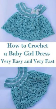 Popular Crochet - Crochet Ideas & Patterns At Your Fingertips! Crochet very easy and very fast baby girl dress Crochet Baby Dress Free Pattern, Crochet Baby Blanket Beginner, Baby Dress Patterns, Baby Girl Crochet, Crochet Baby Clothes, Crochet For Kids, Baby Knitting, Easy Crochet, Crochet Dresses