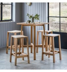 Narrative Solid Oak Bar Table and Stool Set Oak Bar Stools, Bar Table And Stools, Pub Table Sets, Bar Tables, Breakfast Bar Table, Outdoor Patio Bar Sets, High Top Tables, High Bar Table, Pub Set