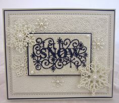 Sue Wilson Let it Snow, card cased from one of her tutorials Christmas Cards To Make, Xmas Cards, All Things Christmas, Handmade Christmas, Holiday Cards, Christmas Crafts, Christmas Ideas, Snowflake Cards, Christmas Snowflakes