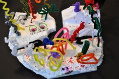 Styrofoam monster sculptures. MAK note: Always love styrofoam and pipcleaners, monsters or not.