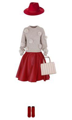 """Funlayo Deri Red High-Waisted Flared Leather Skirt"" by bodangela on Polyvore featuring Funlayo Deri, TIBI, Yves Saint Laurent, MaxMara, Brixton and Leather"