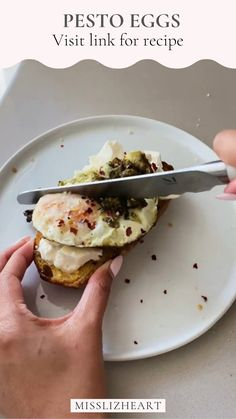 ✨sourdough bread ✨EVOO ✨pesto ✨eggs ✨burrata ✨ parm ✨crushed red peppers (1) Add pesto to a hot pan (2) Throw in eggs like normal (3) add salt and pepper (4) make sourdough toast + top with creamy burrata (5) add fried egg and top with pesto, Parmesan cheese + red pepper flakes