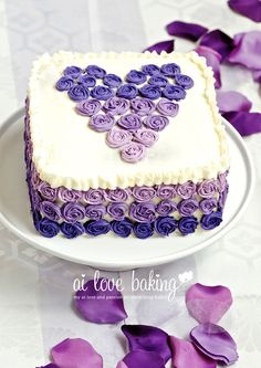 Purple Ombre Anniversary Cake.  I used royal icing rosettes for the ombre effect.  Go to http://ailovebaking.com/2013/05/20/another-ombre-...