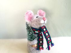 Needle felted Mouse with Christmas tree Christmas by Felt4Soul