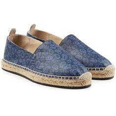Etro Printed Leather Espadrilles (1.485 BRL) ❤ liked on Polyvore featuring shoes, sandals, blue, leather espadrille sandals, shiny shoes, blue espadrilles, bohemian sandals and boho shoes