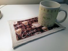 Mug Rug / Quilted Mug Rug / Quilted Coaster / Coffee Mug Rug / Tea Mug Rug / Coffee Cup Coaster / Coffee and Snack Coaster / Pot Holder by GrandmaSewsBest on Etsy