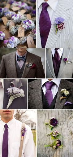 Plum purple and grey elegant wedding color ideas 57