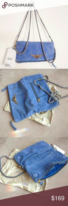 NWT Zadig & Voltaire rock clutch blue suede New with tags  Zadig & Voltaire rock clutch  Blue suede Skull detail Dust bag included Zadig & Voltaire Bags Clutches & Wristlets