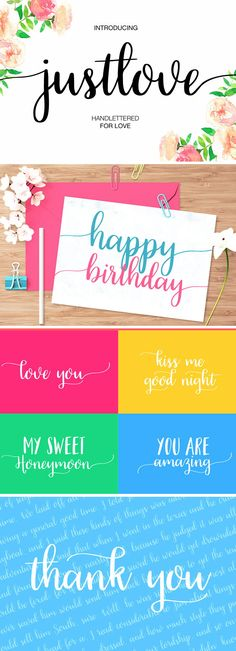 Just Love is a handmade calligraphy script font for wedding designs, greeting cards, feminine branding, social media design and more! Fancy Fonts, Cool Fonts, Handwritten Fonts, Calligraphy Fonts, Lettering, Geometric Font, Happy Birthday Love, Vintage Fonts, Beautiful Fonts