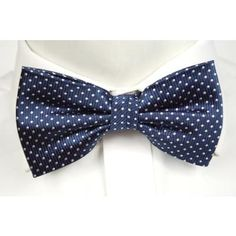 $28, Navy and White Polka Dot Bow-tie: Notch Silk Pre Tied Bow Tie Irwin Dark Blue Base And Small White Dots. Sold by Tieroom. Click for more info: https://lookastic.com/men/shop_items/97947/redirect
