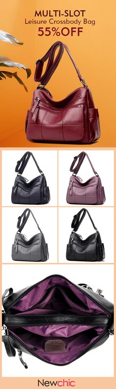 【US$32.53】Women Solid Multi-Slot Soft Leather Crossbody Bag Leisure Stitching Messenger Bag #leatherbags #summerfashion #outfitideas #Leisurebags