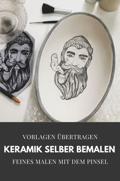 Malen mit feinem Pinsel Painted Ceramics, Ceramic Painting, Diy, Brushes, Painted Pottery, Bricolage, Do It Yourself, Homemade, Diys
