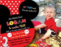 Mickey Mouse Birthday Invitation & Thank You Card on Etsy, $15.00
