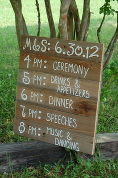 Recycled Wood Itinerary! Hand painted and customized just for your special event. Board measures approx: 30 x 36 and can prop up against anything.  SHIPS IN 4 WEEKS!  If you need these BEFORE 5 weeks from now you will get a $30 rush delivery bill  CUSTOMIZE IT: I hand paint your itinerary onto recycled wood, Wood does vary in color. Just tell me the color you prefer. You have 6 lines: Top line: Initials and date in numbers 2nd-6th lines: Time and event. Each Line has a 18 letter limit for…