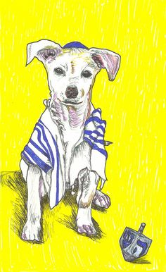 Morbo Celebrates Hanukkah card--holiday greeting card--dog. For the Jewish animal lover out there!