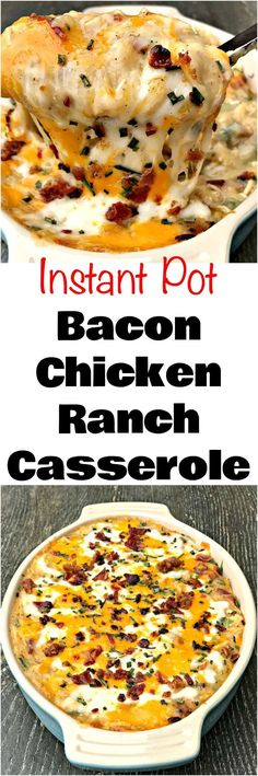 Instant Pot Bacon Chicken Ranch Baked Potato Casserole is a quick and easy pressure cooker recipe with mozzarella and cheddar cheese.