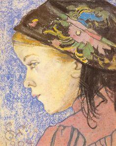 """Stanislaw Wyspianski """"Portrait of a Grl"""", 1904, pastel, 28.5 x 24.5 cm, Regional Museum, Radom"""