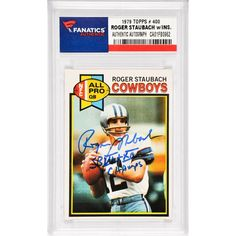 Roger Staubach Dallas Cowboys Fanatics Authentic Autographed 1979 Topps #400 Card with SB VI & XII Champs Inscription - $249.99