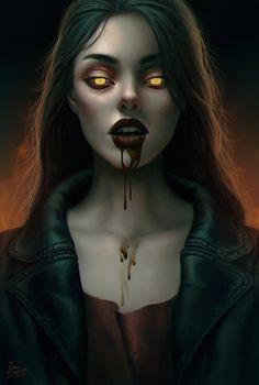 Artwork by: Ilona Sopuch Vampire Love, Female Vampire, Vampire Girls, Vampire Art, Character Portraits, Character Art, Beautiful Dark Art, Vampire Masquerade, World Of Darkness