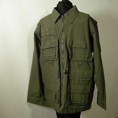Woolrich Field M Jacket Coat Men's Medium OD Green Sleeves Zip Off to Vest | eBay