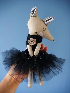 Rose minuscule: Les timides . fox doll in black tutu