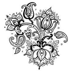 lotus flower tattoo designs: Paisley ornament Lotus flower Vector illustration isolated