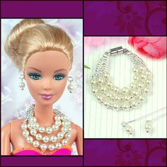 barbie doll jewelry set barbie white pearl necklace and by sinogem