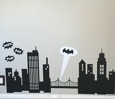 personalized batman gotham city decal for bedroom wall. batman signal searchlight sticker decal. pow bam batman