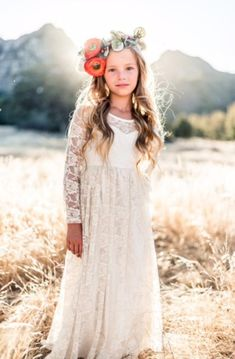 909ad6cdc3 Ready to Ship Long Sleeve Ivory Lace Sweetheart Dress Flower