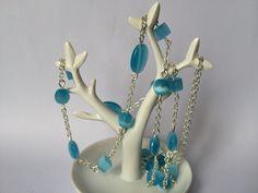 Collier sautoir perles multiformes œil de chat bleu turquoise : Collier par alterperles