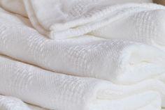 Cotton Leno Chevron Blanket - White