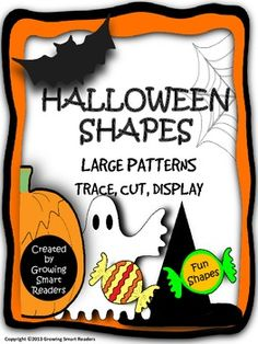 """Make your room """"BOO-tiful"""" with these large shapes to print, cut, trace and decorate and personalize. This is a fun craft activity as well as a cha. Halloween Templates, Halloween Themes, Fall Halloween, Preschool Halloween, Halloween Activities, Holiday Activities, Halloween Stuff, Shape Books, Teacher Helper"""