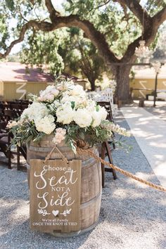 Stunning Boho Chic Rustic Ranch Wedding, barrel wedding ceremony decorations with florals. Whiskey Barrel Decor, Whiskey Barrel Wedding, Farm Wedding, Rustic Wedding, Wedding Ideas, Boho Wedding, Wedding Couples, Floral Wedding, Wedding Planning