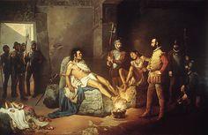 El Tormento de Cuauhtémoc, Leandro Izaguirre, 1892. Pintor de la Academia de San Carlos, privilegia los temas históricos como lo recomiendan los críticos liberales que quieren crear una escuela mexicana de la pintura