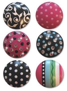 Hand Painted Fancy Bling Drawer Knobs Nursery