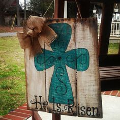 EASTER HOLIDAY RESURRECTION WOOD PALLET DOOR HANGER by Southern Cute Designs