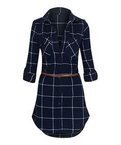 Look at this Navy  amp  White Long-Sleeve Belted Flannel Dress on  zulily 2f7996f0f
